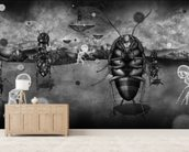 Ants mural wallpaper living room preview