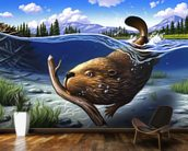 Busy Beaver mural wallpaper kitchen preview