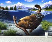 Busy Beaver mural wallpaper in-room view