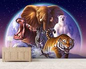 Mammals mural wallpaper living room preview