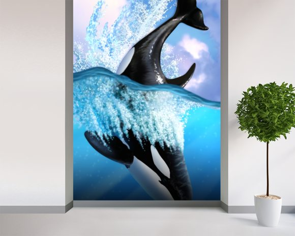 Orca wall mural room setting