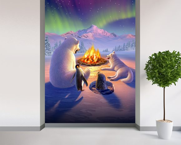 Polar Pals wallpaper mural room setting