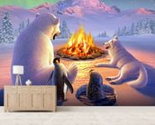 Polar Pals wallpaper mural living room preview
