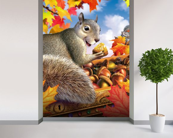 Squirrel mural wallpaper room setting