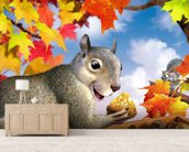 Squirrel mural wallpaper living room preview