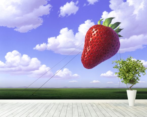 Strawberry wall mural room setting