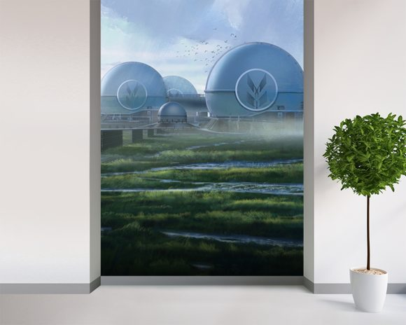 Dome factory wall mural room setting