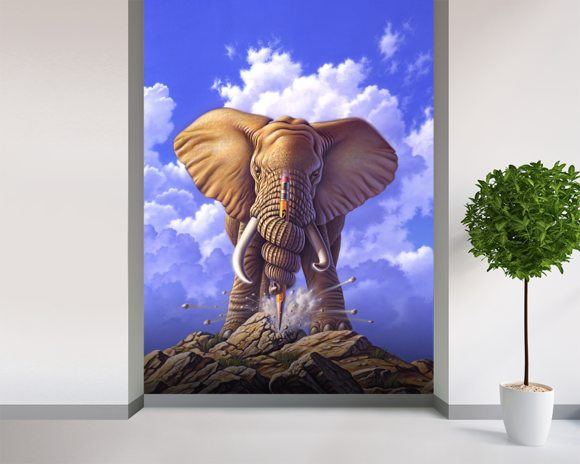 Elephant and Pencil wallpaper mural room setting