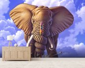 Elephant and Pencil wallpaper mural living room preview