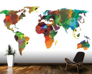 Map wallpaper wall murals wallsauce australia world map water colours wall mural wallpaper gumiabroncs Gallery
