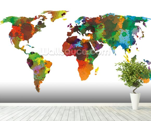 World map water colours wallpaper wall mural wallsauce australia world map water colours mural wallpaper room setting gumiabroncs Choice Image