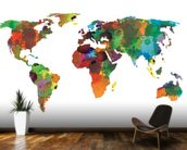 World map Water Colours mural wallpaper kitchen preview
