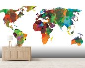 World map Water Colours mural wallpaper living room preview
