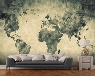 Ancient World Map Sketch wallpaper mural
