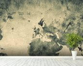 Ancient World Map Sketch wallpaper mural in-room view
