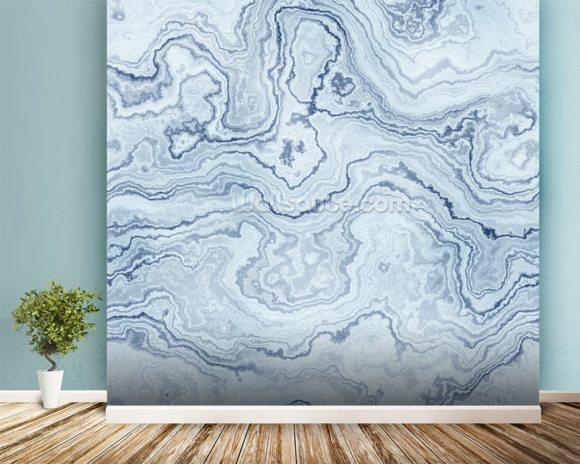 Light Blue Marble Wallpaper Wall Mural