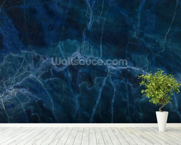 Dark blue marble wallpaper wall mural wallsauce usa for Blue wallpaper for walls