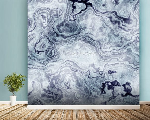 Marble Wall Paint : Blue swirl marble wall mural wallpaper wallsauce