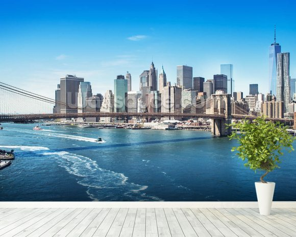 New york brooklyn bridge skyline wallpaper wall mural for Brooklyn bridge wallpaper mural