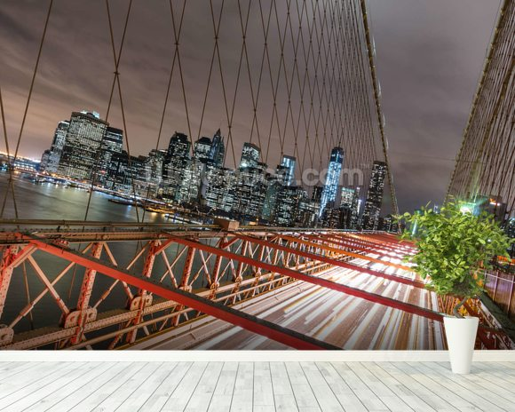 Manhattan Skyline from Brooklyn Bridge wall mural room setting