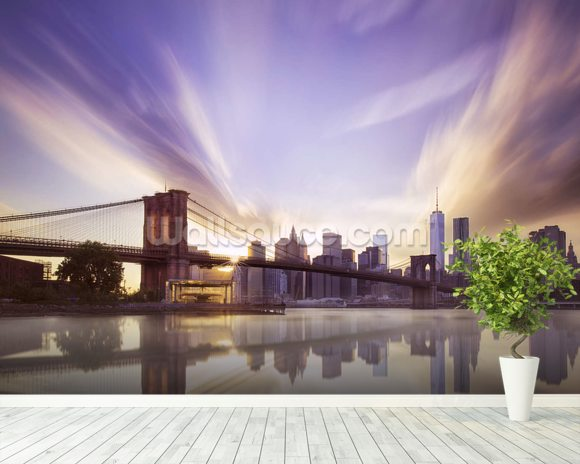Brooklyn Bridge Sunset mural wallpaper room setting
