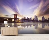 Brooklyn Bridge Sunset mural wallpaper living room preview
