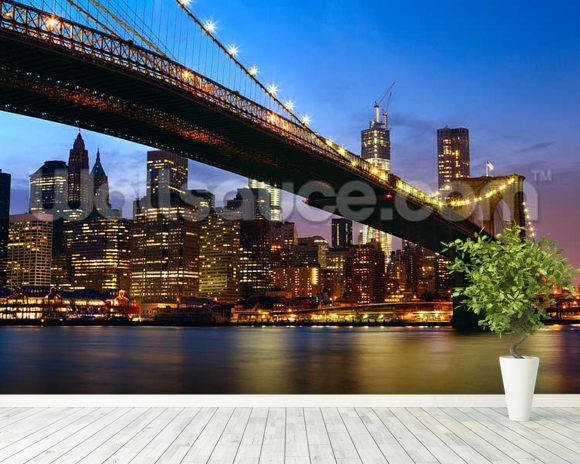 Manhattan panorama brooklyn bridge wallpaper wall mural for Brooklyn bridge mural wallpaper