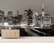New York at Night mural wallpaper living room preview