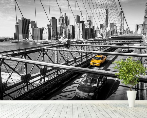 Taxi on Brooklyn Bridge Wallpaper Wall Mural Wallsauce USA