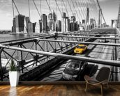 Taxi on Brooklyn Bridge wall mural kitchen preview