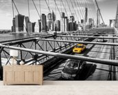 Taxi on Brooklyn Bridge wall mural living room preview