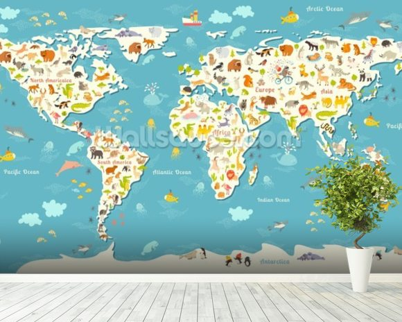 Animals world map wallpaper wall mural wallsauce usa animals world map wall mural room setting gumiabroncs Image collections