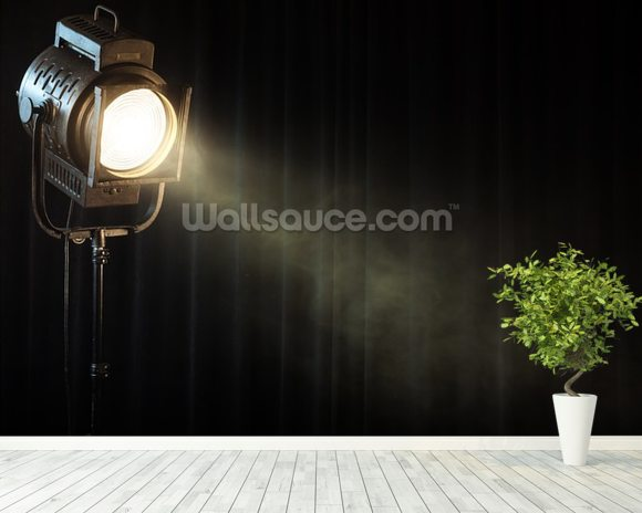 Vintage Theatre Spot Light On Black Curtain With Smoke Wallpaper Mural Room Setting