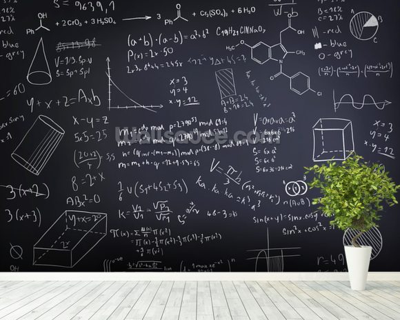 Black Chalkboard Wallpaper Mural Room Setting