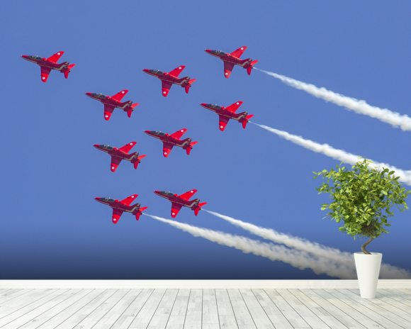 The Red Arrows aerobatic team formation wall mural room setting