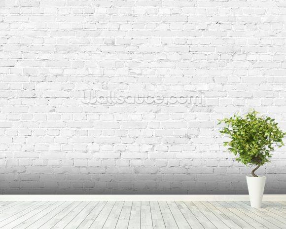 White Brick Wallpaper Mural on White And Grey Living Room