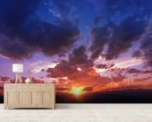 Mountain Range Sunset wall mural living room preview