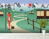 Fox in Japan wall mural in-room view