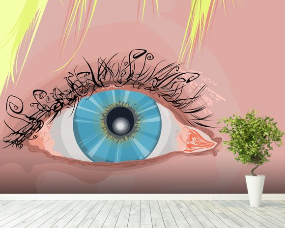 The Eye mural wallpaper room setting