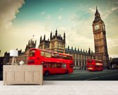 London Bus at Big Ben wallpaper mural living room preview