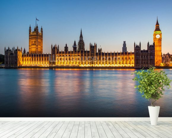 Houses of Parliament at Dusk mural wallpaper room setting