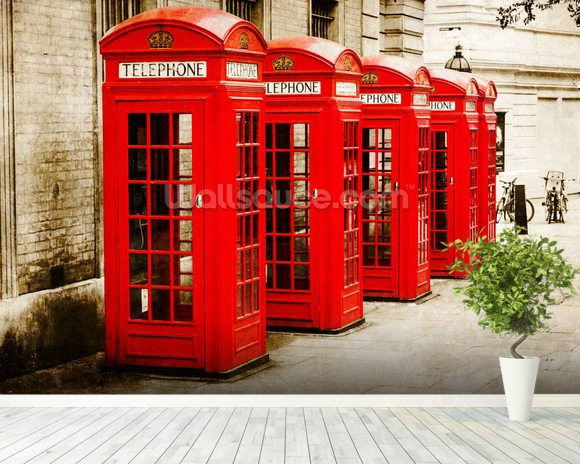 Red Telephone Boxes wall mural room setting