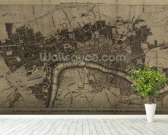 Old London Map mural wallpaper room setting