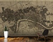 Old London Map mural wallpaper kitchen preview