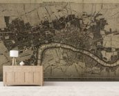 Old London Map mural wallpaper living room preview