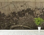 Old London Map mural wallpaper in-room view