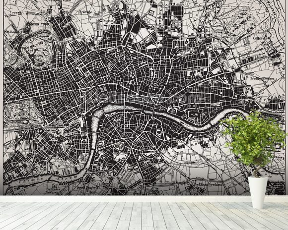 Historical Map of London mural wallpaper room setting