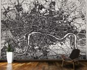 Historical Map of London mural wallpaper kitchen preview