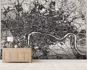 Historical Map of London mural wallpaper living room preview