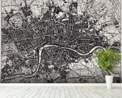 Historical Map of London mural wallpaper in-room view